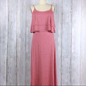 Pink & grey striped maxi dress